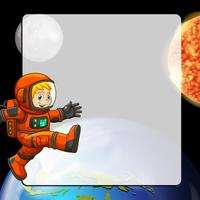 Border design with astronaut in space