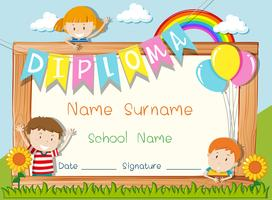 Diploma template with kids in the park background