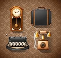 Household objects in vintage styles vector
