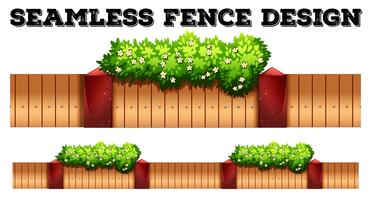 Seamless fence design with flower