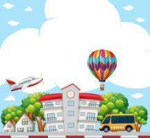 Hintergrundszene mit der Schule in der Nachbarschaft