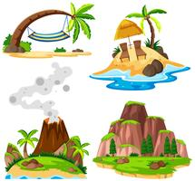 Four scenes of island and beach