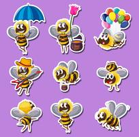Sticker design for bee in different actions