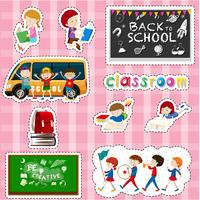 Diseño de pegatinas para alumnos y artículos escolares.
