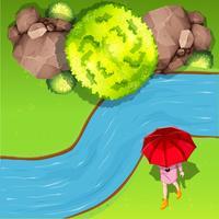 Marcher près de la rivière aérienne