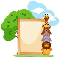 Wooden frame with cute animals on the side