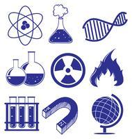Doodle diseño de las diferentes imágenes de la ciencia.