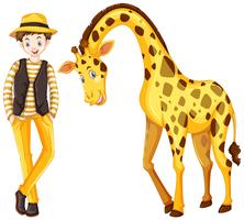 Teenage boy and cute giraffe