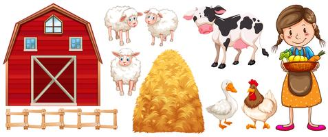 Agricultor e animais de fazenda