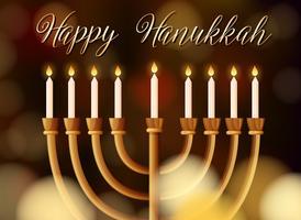 Modello di carta di Hanukkah felice con luce