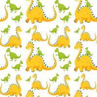 Naadloze achtergrond met gele en groene dinosaurussen