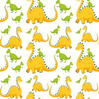 Seamless background with yellow and green dinosaurs