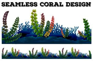 Seamless background with coral and seaweeds