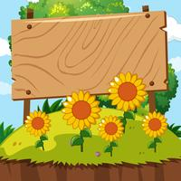 Wooden sign in sunflower garden vector