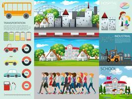 Infográfico design com pessoas e configurações diferentes