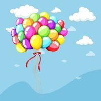 Plantilla de fondo con globos en el cielo azul