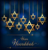Felice Hannukkah con il simbolo delle stelle degli ebrei