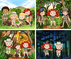 Four scenes of children camping in the woods