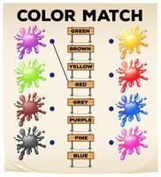 Matchande arbetsblad med färger och ord