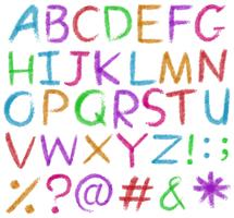 Letters of the alphabet in bright colors