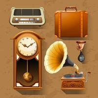 Retro items on brown background