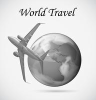 Vliegtuig dat rond de aarde vliegt