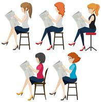 Faceless women reading