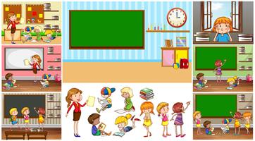 Professor e alunos na escola