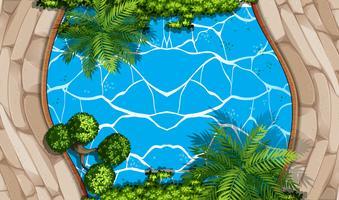 Escena aérea con piscina y jardín.