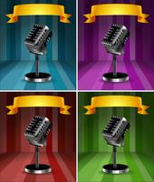 Microphones in four background colors