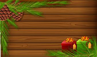 Wooden board with pinecone and presents