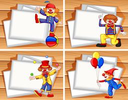 Border template with funny clowns