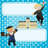 Plantilla de banner con niños en vestidos de graduación