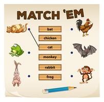 Matching game with many animals