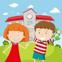 Schulszene mit zwei glücklichen Kindern