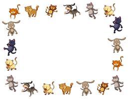 Modello di confine con simpatici cani e gatti