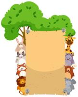 Plantilla de papel con lindos animales en ambos lados.