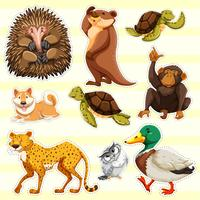 Sticker design for wild animals on yellow background