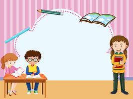 Gränsmall med barn som lär sig i klassrummet