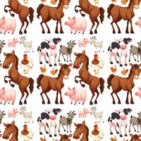 Seamless background with farm animals