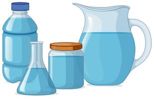 Different types of containers with fresh water