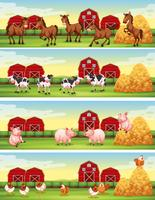 Cuatro escenas de animales de granja en la granja.