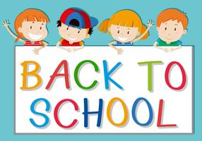 Children holding back to school sign vector