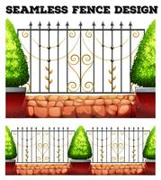 Seamless metal fence design with bushes
