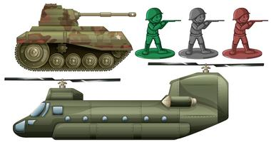 Military vehicles and soldier toys vector