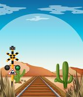 Cena fundo, com, ferrovia, em, deserto, campo