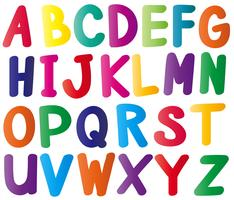 English alphabets in many colors