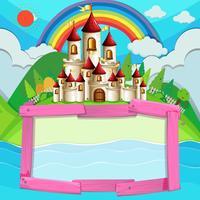 Design del telaio con castello e arcobaleno
