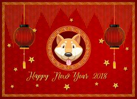 New year card template with dog and red lanterns