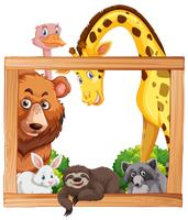 Wooden frame with wild animals